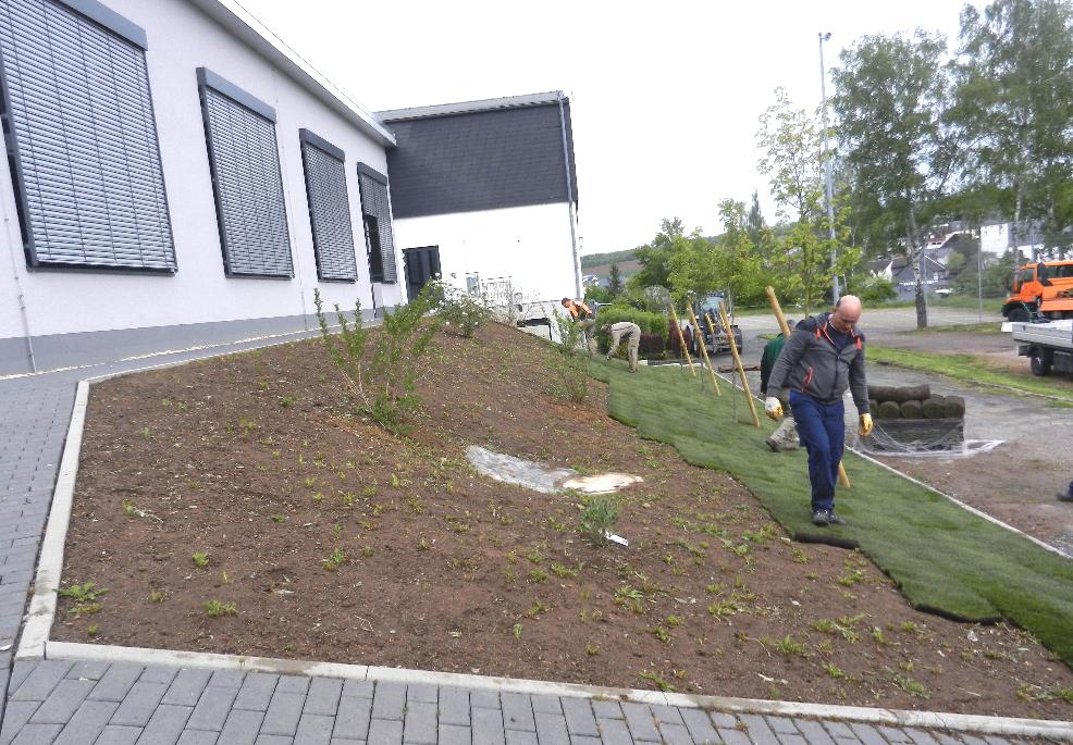 09.05.2019 Der Bauhof der Gemeinde verlegt Rollrasen an der MZH
